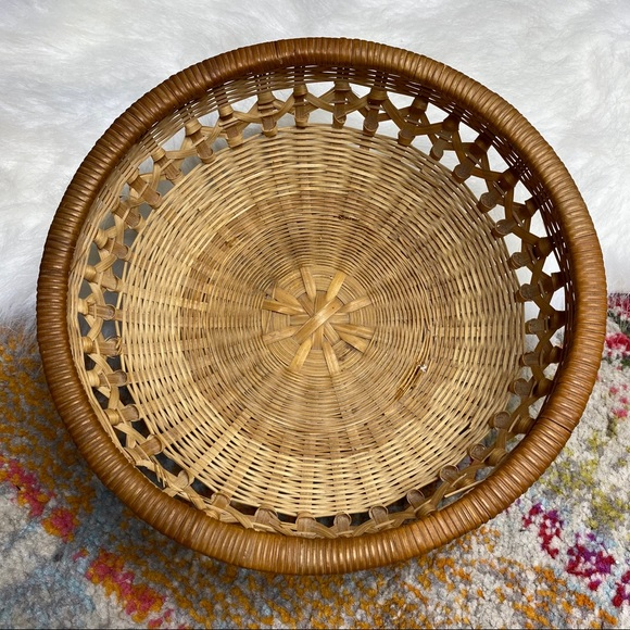 Vintage Round Wicker Basket Boho Wall Art